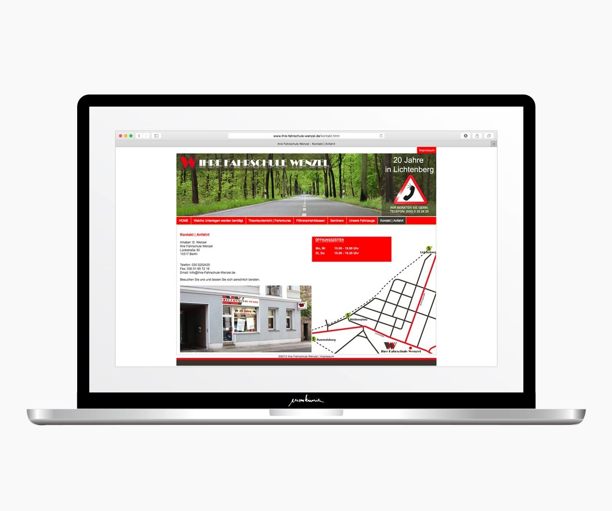 Fahrschule Wenzel Berlin Webdesign