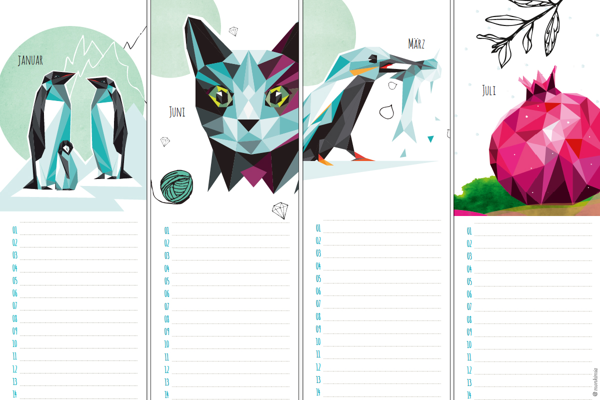 Geburtstagskalender monkimia Designkalender