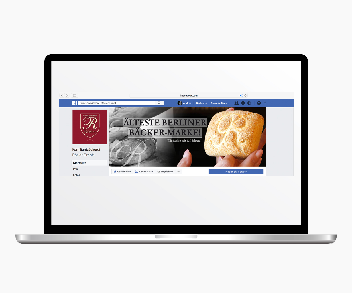 Webdesign Facebook Rösler Bäckerei monkimia